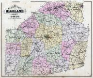 Highland County Outline Map, Highland County 1887